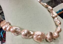 """PINK REAL HUGE AAA SOUTH SEA BAROQUE PEARL NECKLACE 18"""""""