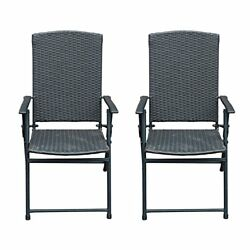 SunLife Folding Rattan Chairs Outdoor Indoor Foldable Camping Garden Furnitur...