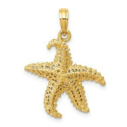 14K Yellow Or White Gold Polished And Open-Back Casted Starfish Pendant