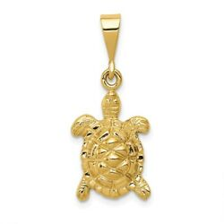 14K Yellow Or White Gold Solid Polished Open-Back Sea Turtle Pendant