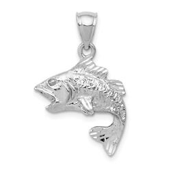 14K Yellow Or White Gold Polished And Textured Bass Fish Pendant