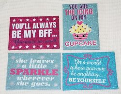 GLITTERED INSPIRATIONAL QUOTE SIGNS Door Décor Wall Hanging Plaque NEW