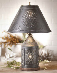 Tinner#x27;s Revere Lamp with Punched Tin Shade. Primitive Country Rustic Lighting $128.95