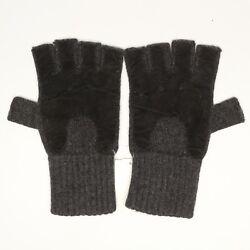 Bloomingdales Mens Fingerless Gloves SM Charcoal Gray Cashmere Knit Black Suede
