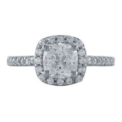2.87 Ct Cushion Cut Diamond Halo Engagement Wedding Ring 14K White Gold Over