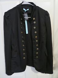 New Women's She and Sky Black Military Jacket Blazer Greatest Showman Size Large