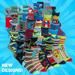 Boys Novelty Cotton Rich Socks 9 Pairs Funky Characters Dinosaurs Skulls Sharks GBP 9.99