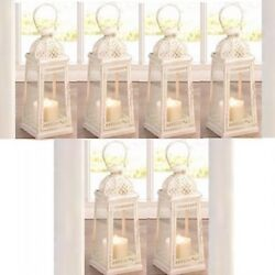 Pretty and Exotic White Rustic Lantern 6 PC Lot Candleholder Centerpieces $117.00