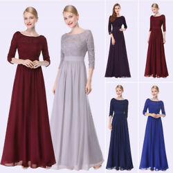 Women Lace Long Sleeve Holiday Dresses V Neck Long Maxi Evening Prom Gown 08412 $29.99