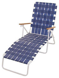 Rio Brands BY405-0138 Web Chaise Lounge Hi-Back White Steel Frame