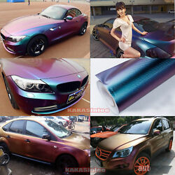 4 Colors Car Glossy 3D Carbon Fiber Chameleon Vinyl Wrap Sticker Sheet Film - CF