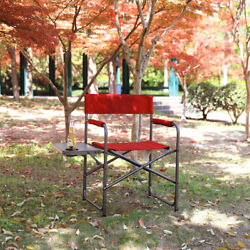 Utility Folding Camping Director's Chair with Side Table Outdoor Beach Garden