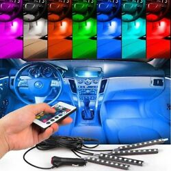 4pcs RGB Multi-Color LED Engine Bay or Under Car Lighting Kit w Wireless Remote