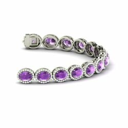 12.01 TCW Natural Oval-Cut Amethyst and Diamond Tennis Bracelet 14k White Gold