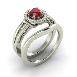 1.02 ct Natural Ruby and Diamond engagement ring-wedding ring in 14k White Gold