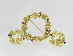 Vintage Vine of Ivy 18K Gold Diamond and Ruby Earrings and Brooch Set