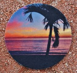 Sunrise with Palm Tree Absorbent Rose West Photo Car Coaster (2)