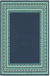 Area Rug Carpet Border Antimicrobial Indoor Outdoor Flooring Home Decor in Navy