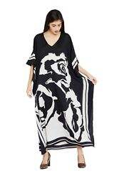 Black White Dress Kaftan Caftan Size Maxi Women Cover Long Up Long Evening Dress $15.49