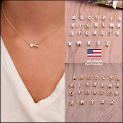 New Charm Gold Silver Heart Letter Initial A-Z Alphabet Pendant Chain Necklace