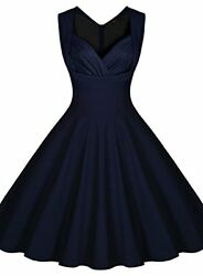MIUSOL~ Retro 1950's Navy Sweetheart Fit & Flare Sleeveless Party Dress L NEW