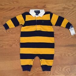 POLO RALPH LAUREN boys 9m LONG SLEEVE ROMPER one piece Rugby Striped NWT Twins $24.99
