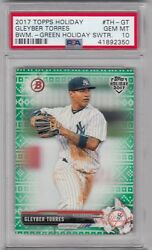 2017 Topps Bowman Holiday GLEYBER TORRES Green Holiday Sweater RC PSA 10 #d 99 $119.99