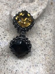 Genuine Citrine Smoky Topaz 925 Sterling Silver Vintage Chandelier Earrings $180.00