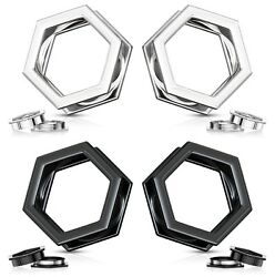 PAIR Hexagon Screw Fit Tunnels Plugs 316L Surgical Steel Black or Silver $10.50