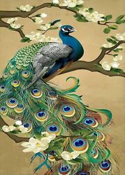 NEEDLEPOINT Canvas 14 or 18 count Abstract Art Needlepoints Peacock Bird $28.99