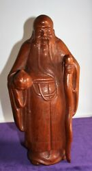 Wooden Figure Chinese Monk Exotic Wood (Mahogany) Height Approx. 15in