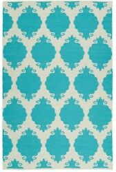 Reversible Area Rug Carpet 5 x 8 ft. Geometric Trellis Indoor Outdoor Turquoise