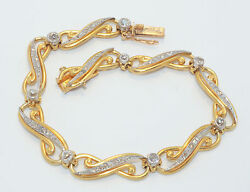 ART NOUVEAU French  18ct Yellow Gold & Platinum Diamond Bracelet  RRV $12700.00