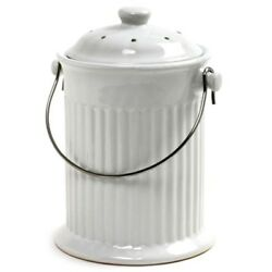 Kitchen Compost Keeper Crock Ceramic Composter White Countertop Bin 1 Gallon New $40.96