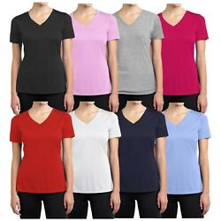 Womens Short Sleeve Fitted Tees Lounge Casual Cotton Stretch V-Neck T-Shirts NEW