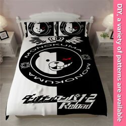 Danganronpa Black White Bear Bedding Set Sheet Pillowcase Duvet Cover Unisex DIY
