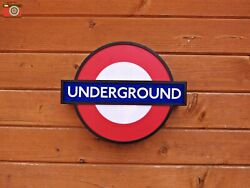 LONDON UNDERGROUND SIGN LIGHT BOX LED Battery or USB Power. 10 Station Inserts