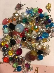 Jewelry Making Lot Of 30 Small Bead Drop Dangle Grab Bag Crystal Gemstone Glass