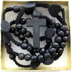Black Wooden Beads Rosary Necklace Cross Crucifix