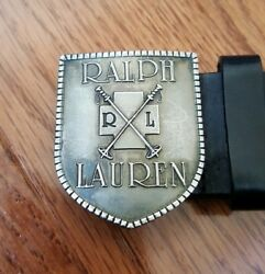 POLO Ralph Lauren BLACK Leather Belt PEWTER Cross SKI Patrol Buckle Size 28 Vtg $249.99