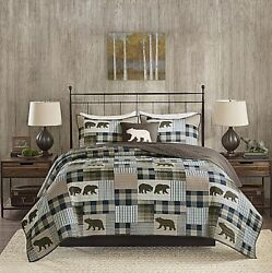 Quilt Set Queen King Size Sets Patchwork Bedding Rustic Cabin Lodge Decor Bears