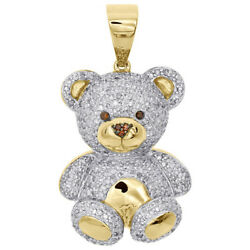 5.18CT NATURAL DIAMOND CITRINE 14K SOLID WHITE GOLD TEDDY BEAR PENDANT FOR KIDS