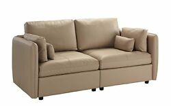 Modern Living Room Furniture Sofa in PU Leather Loveseat Couch Beige $499.99