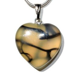 CHARGED Natural Dragon's Vein Agate Crystal HEART Pendant + 20