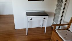 white mid century desk with single drawer and aluminum top $150.00