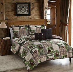 Comforter Set Queen King Sets Bedding 5pc Wildlife Cabin Lodge Bed Rustic Decor