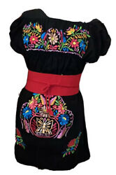 Campesino Black Sleeves Womens Dress OSFA Multi Color Flower Embroidery New