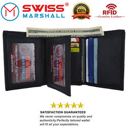 Swiss Marshall Men#x27;s RFID Blocking Premium Leather Classic Trifold Wallet $12.92
