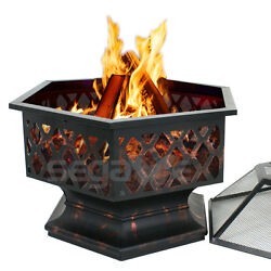 Outdoor Fire Pit Backyard Fireplace Heater Wood Burning Deck Garden Steel