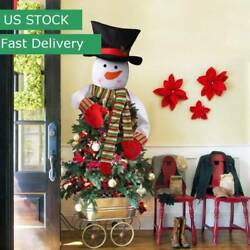 US 2018 New Snowman Christmas Tree Topper Hug Man Xmas Indoor Decoration Gifts